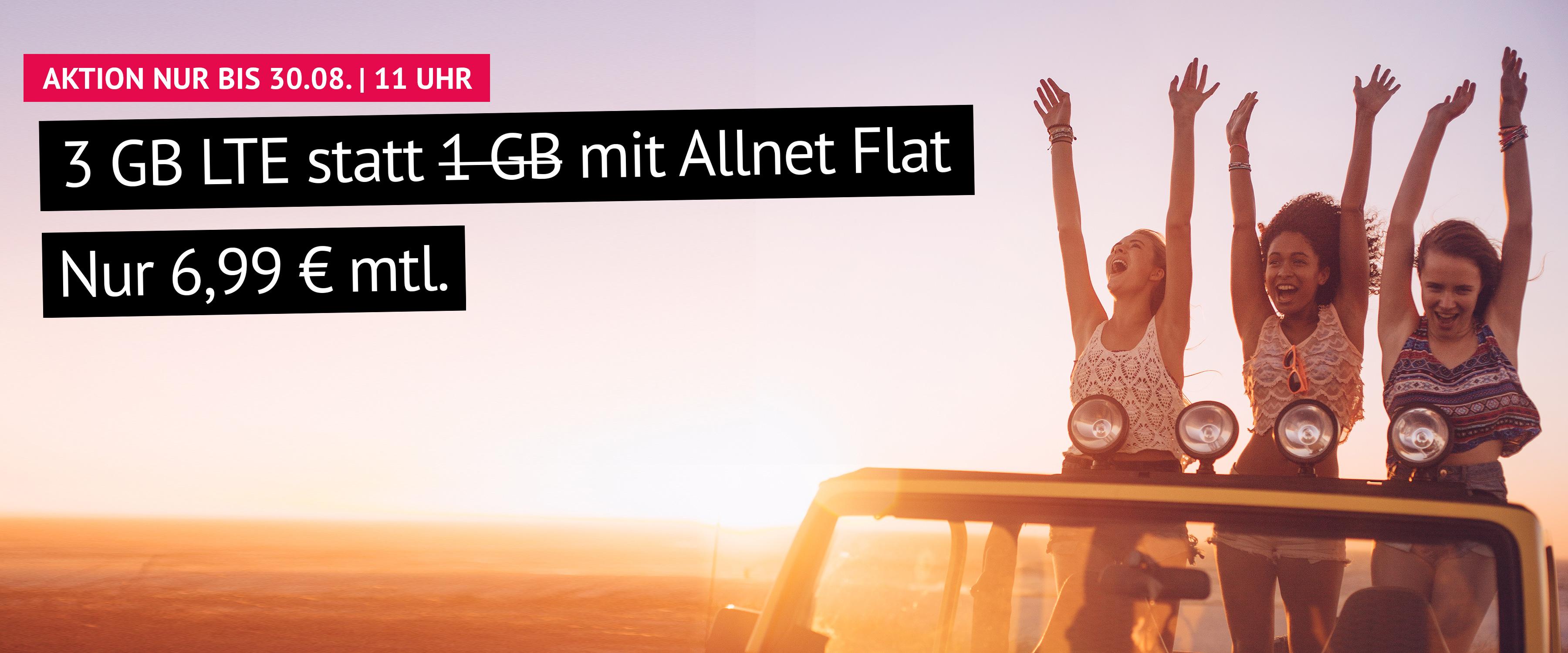 Aktion: 3 GB LTE statt 1 GB mit Allnet Flat